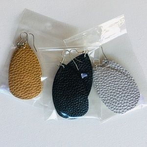 Jewelry - Set of 3! Faux Leather Tear Drop Earrings